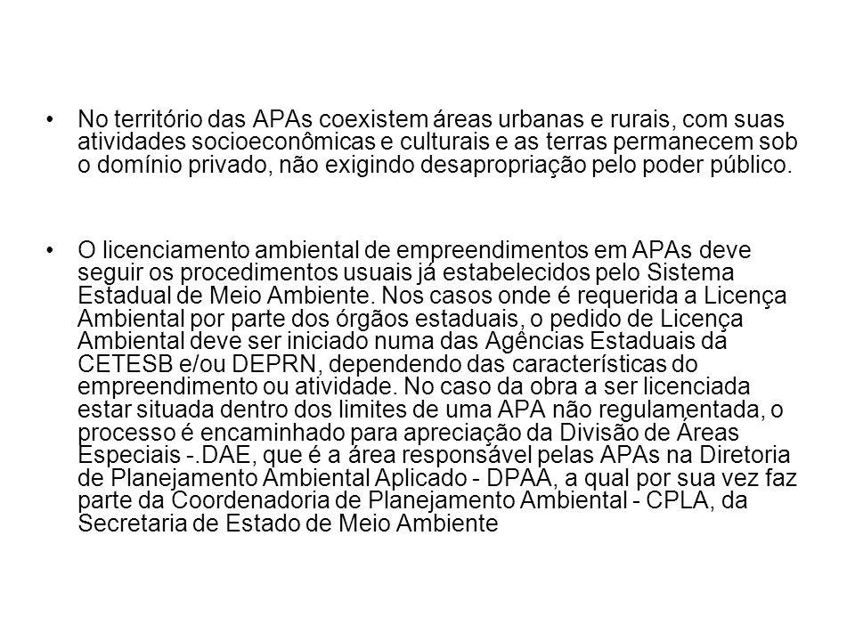 No território das APAs coexistem áreas urbanas e rurais, com suas atividades socioeconômicas e culturais e as terras permanecem sob o domínio privado, não exigindo desapropriação pelo poder público.