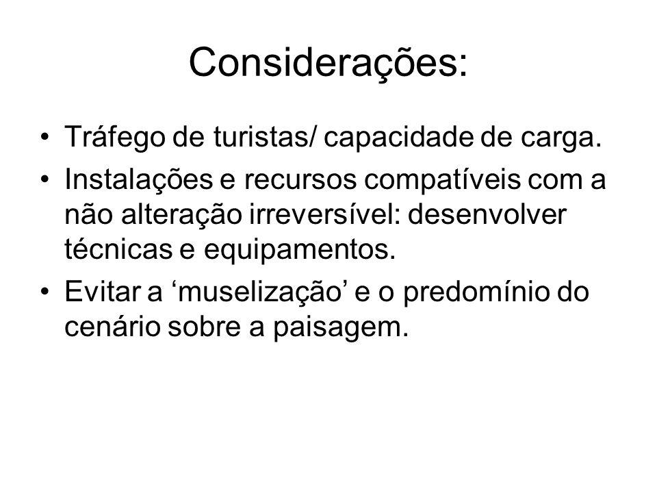 Considerações: Tráfego de turistas/ capacidade de carga.