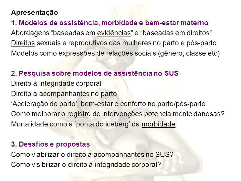 Apresentação 1. Modelos de assistência, morbidade e bem-estar materno. Abordagens baseadas em evidências e baseadas em direitos