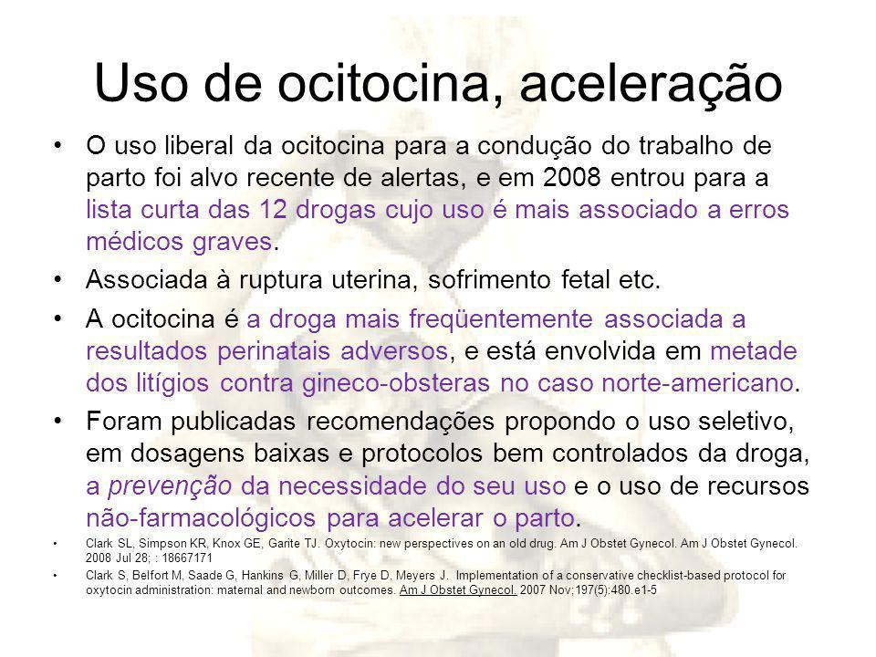 Uso de ocitocina, aceleração