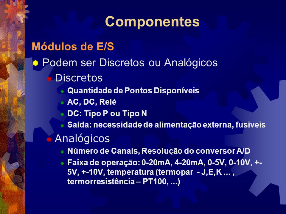 Componentes Módulos de E/S Podem ser Discretos ou Analógicos Discretos