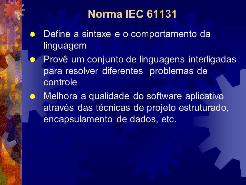Norma IEC 61131 Define a sintaxe e o comportamento da linguagem