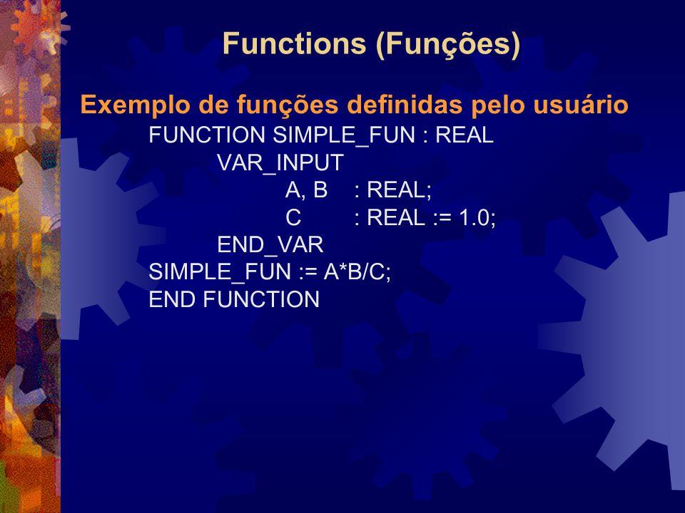 Functions (Funções) Exemplo de funções definidas pelo usuário