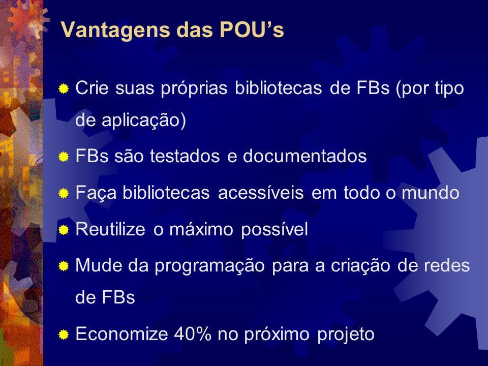 Vantagens das POU's Crie suas próprias bibliotecas de FBs (por tipo de aplicação) FBs são testados e documentados.