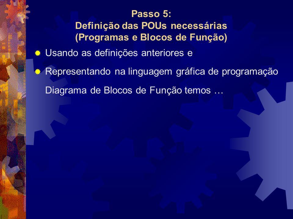 Passo 5: Definição das POUs necessárias (Programas e Blocos de Função)