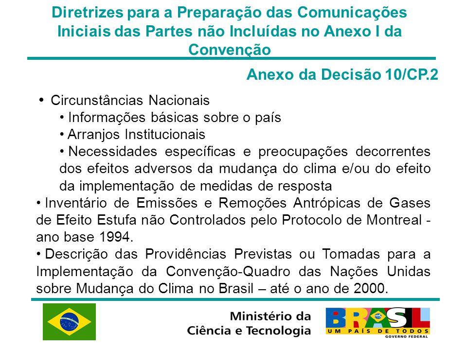 Diretrizes para a Preparação das Comunicações Iniciais das Partes não Incluídas no Anexo I da Convenção