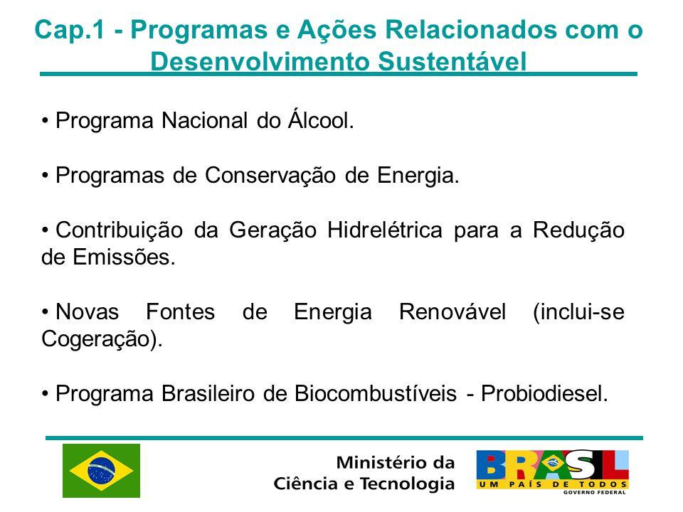 Cap.1 - Programas e Ações Relacionados com o Desenvolvimento Sustentável