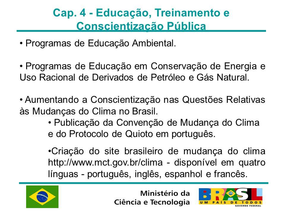 Cap. 4 - Educação, Treinamento e Conscientização Pública