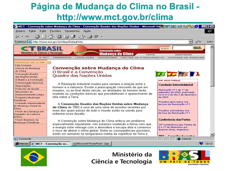 Página de Mudança do Clima no Brasil - http://www.mct.gov.br/clima