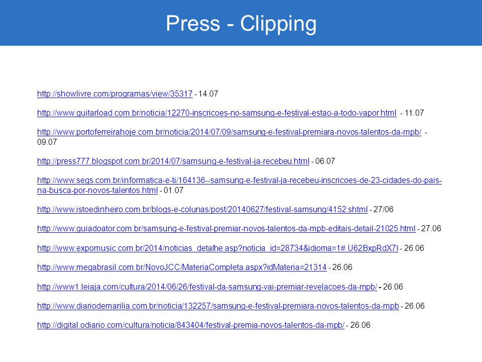 Press - Clipping http://showlivre.com/programas/view/35317 - 14.07