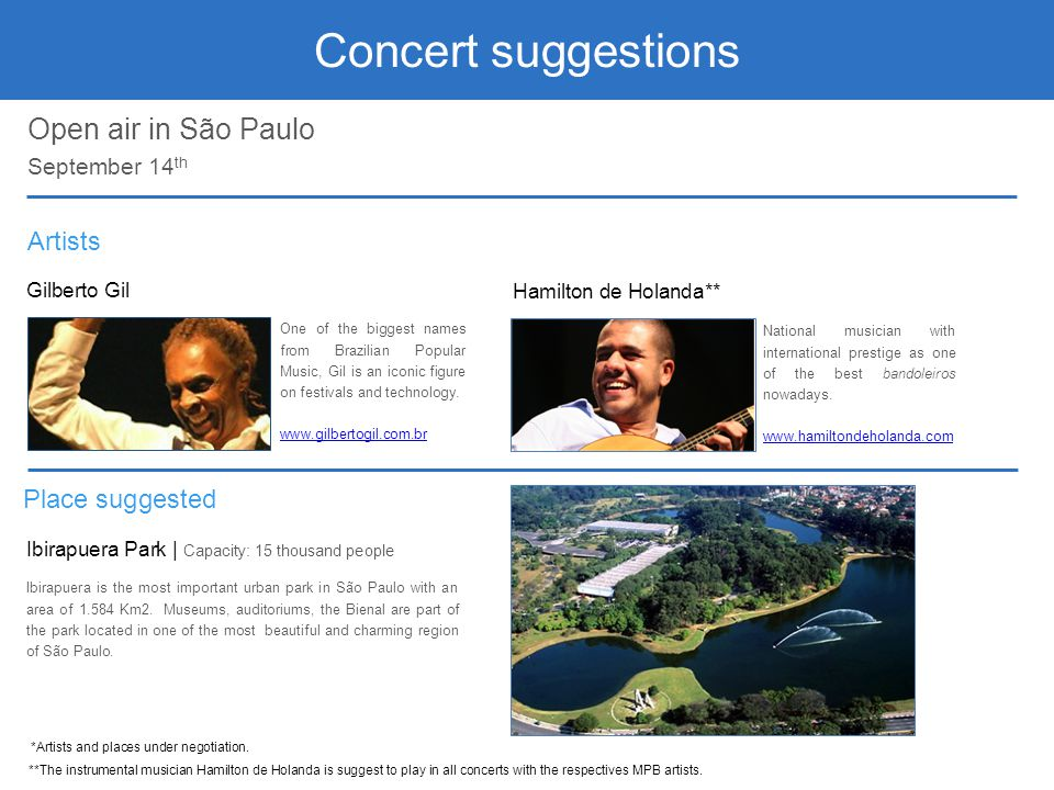 Concert suggestions Open air in São Paulo Artists Place suggested