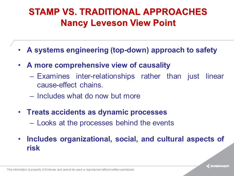 STAMP VS. TRADITIONAL APPROACHES Nancy Leveson View Point