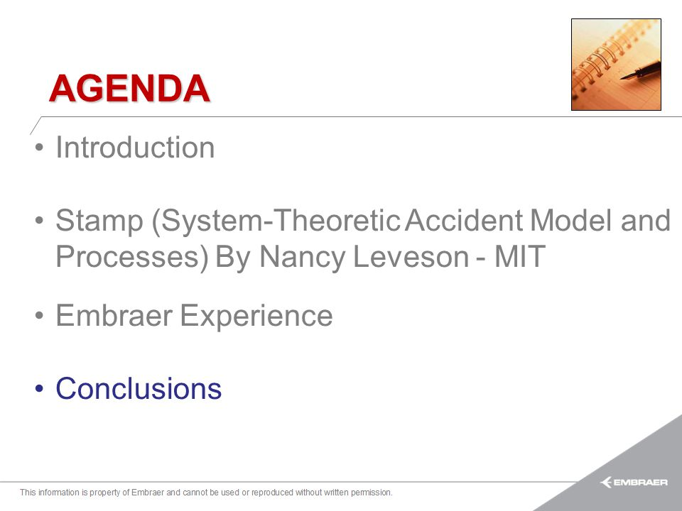 AGENDA Introduction. Stamp (System-Theoretic Accident Model and Processes) By Nancy Leveson - MIT.