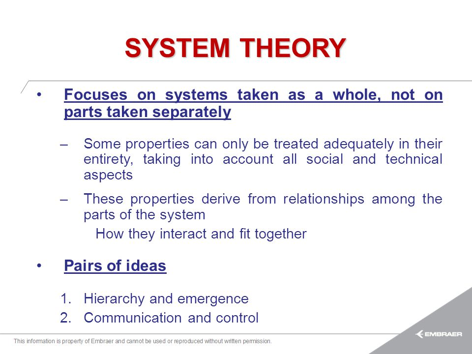 SYSTEM THEORY Focuses on systems taken as a whole, not on parts taken separately.