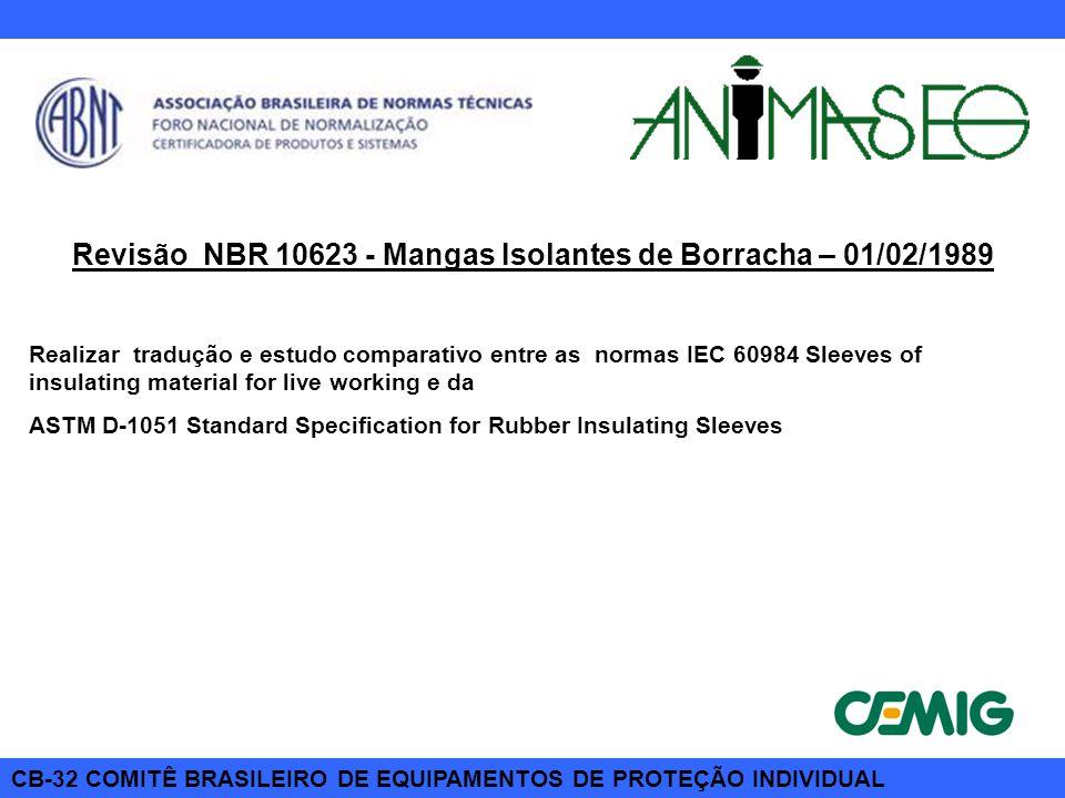 Revisão NBR 10623 - Mangas Isolantes de Borracha – 01/02/1989