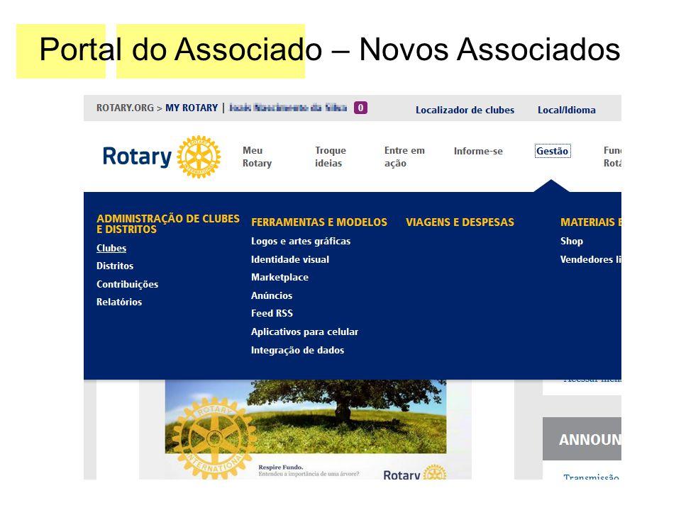 Após realizar seu login no Meu Rotary, acesse a opção Gestão (passe apenas o mouse em cima dela) e no menu que aparecerá, clique na opção Clubes, no lado esquerdo.