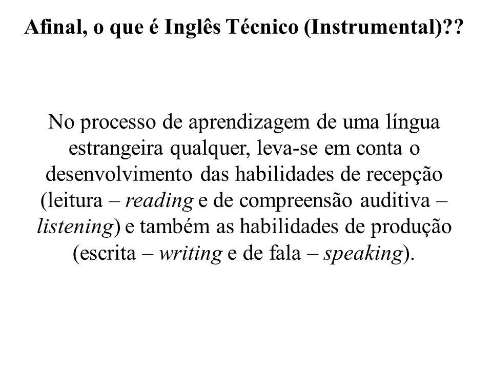 Afinal, o que é Inglês Técnico (Instrumental)