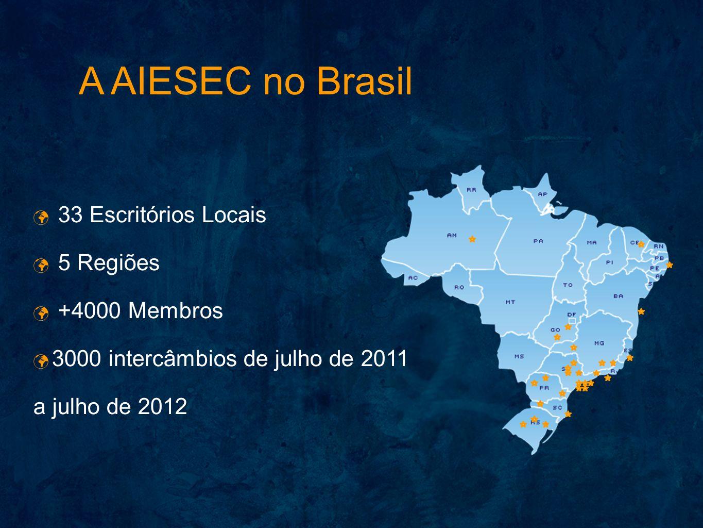 A AIESEC no Brasil 33 Escritórios Locais 5 Regiões +4000 Membros