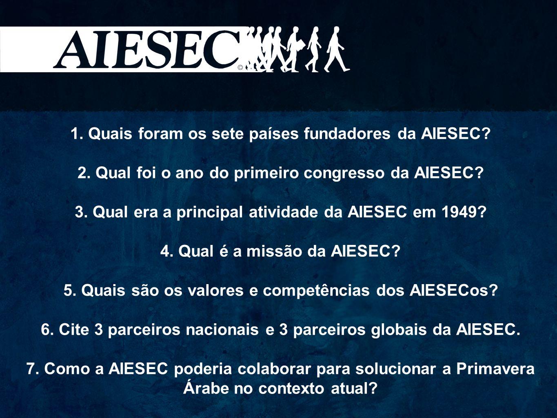 1. Quais foram os sete países fundadores da AIESEC. 2