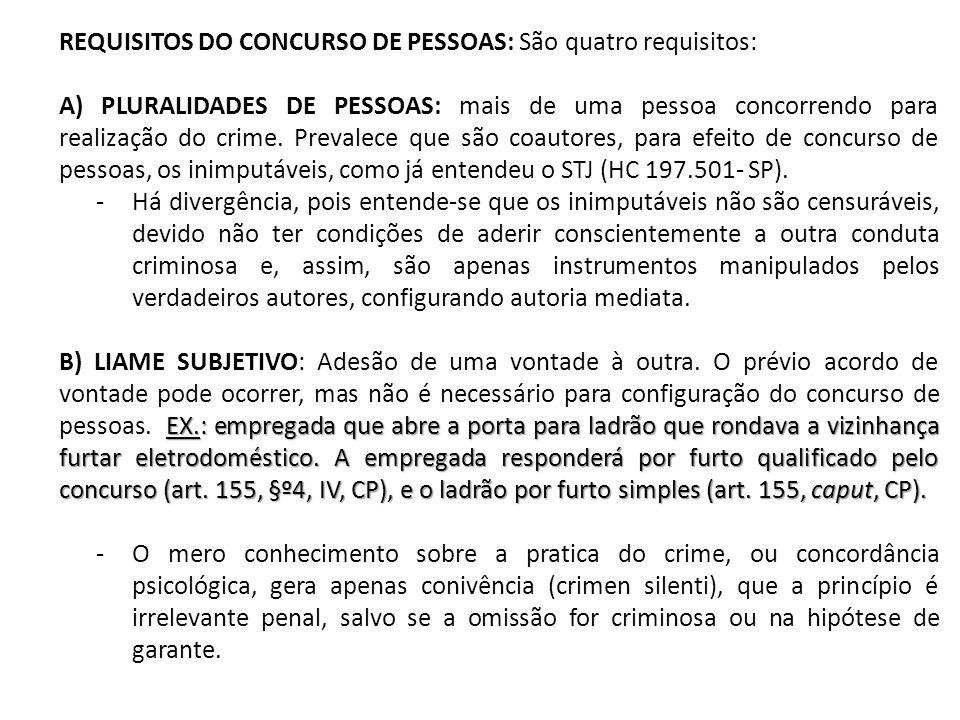 REQUISITOS DO CONCURSO DE PESSOAS: São quatro requisitos: