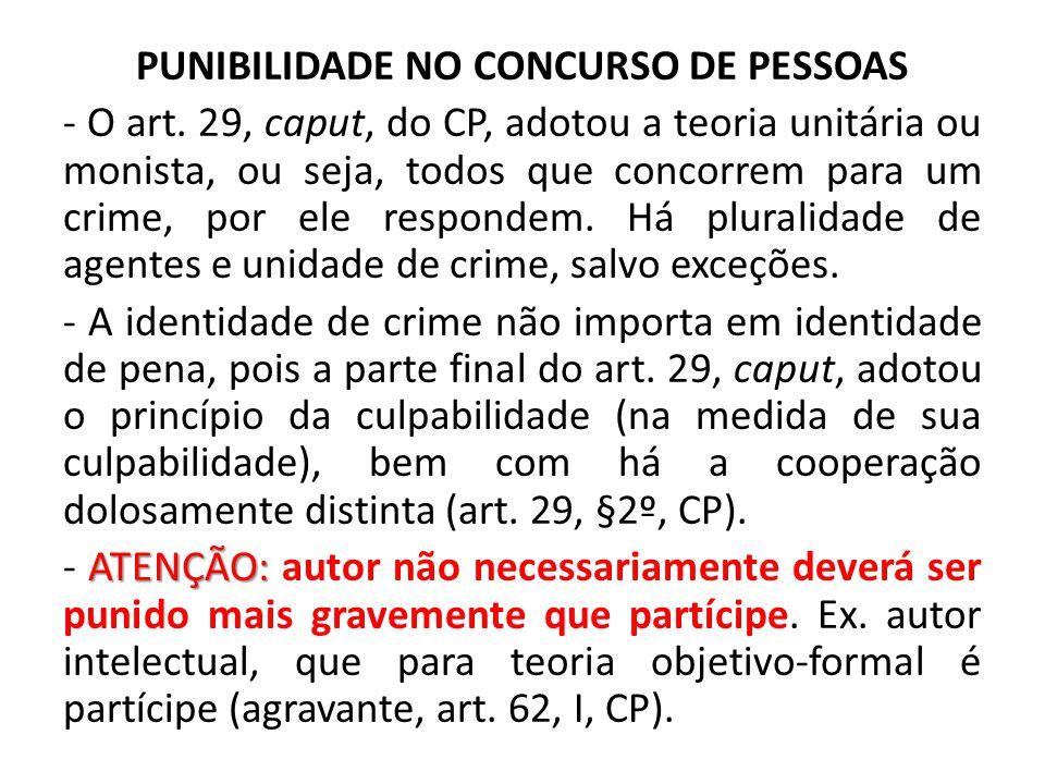 PUNIBILIDADE NO CONCURSO DE PESSOAS - O art