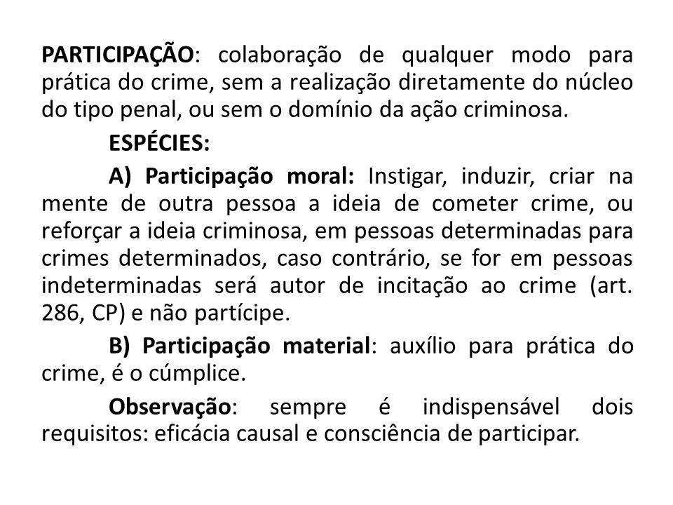 PARTICIPAÇÃO: colaboração de qualquer modo para prática do crime, sem a realização diretamente do núcleo do tipo penal, ou sem o domínio da ação criminosa.