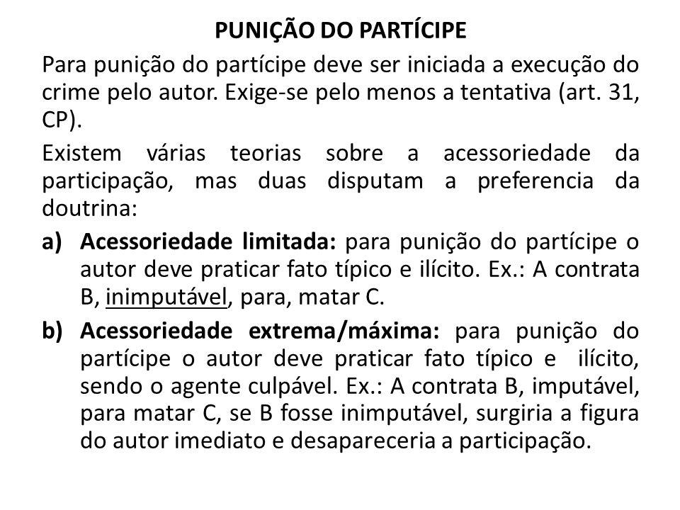 PUNIÇÃO DO PARTÍCIPE Para punição do partícipe deve ser iniciada a execução do crime pelo autor. Exige-se pelo menos a tentativa (art. 31, CP).