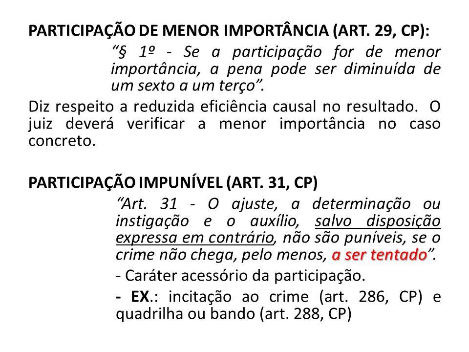 PARTICIPAÇÃO DE MENOR IMPORTÂNCIA (ART