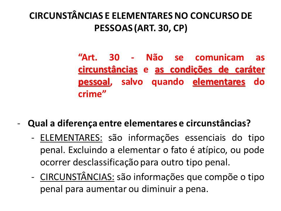 CIRCUNSTÂNCIAS E ELEMENTARES NO CONCURSO DE PESSOAS (ART. 30, CP)
