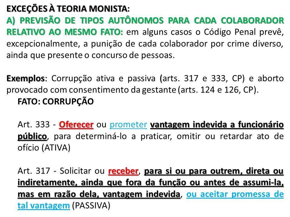 EXCEÇÕES À TEORIA MONISTA: