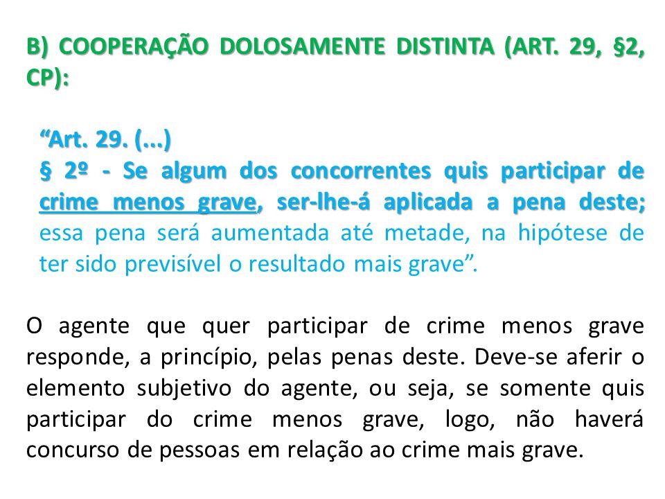 B) COOPERAÇÃO DOLOSAMENTE DISTINTA (ART. 29, §2, CP):