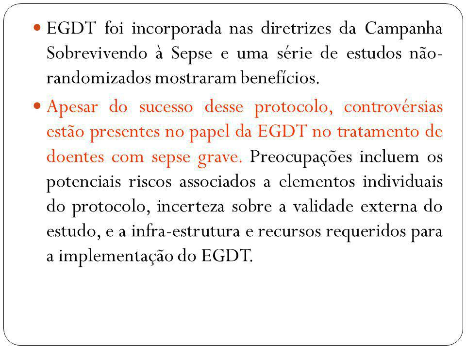 EGDT foi incorporada nas diretrizes da Campanha Sobrevivendo à Sepse e uma série de estudos não- randomizados mostraram benefícios.