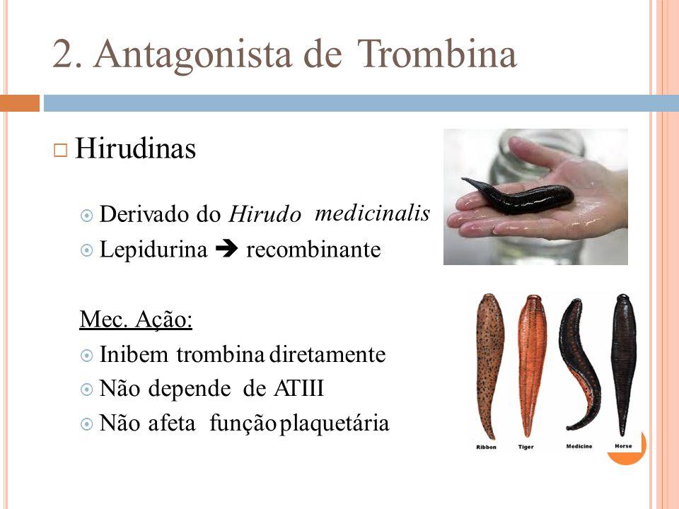 2. Antagonista de Trombina  Hirudinas medicinalis Mec. Ação: