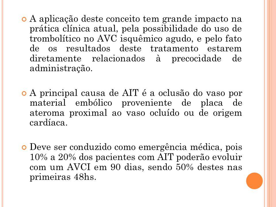 A aplicação deste conceito tem grande impacto na prática clínica atual, pela possibilidade do uso de trombolítico no AVC isquêmico agudo, e pelo fato de os resultados deste tratamento estarem diretamente relacionados à precocidade de administração.