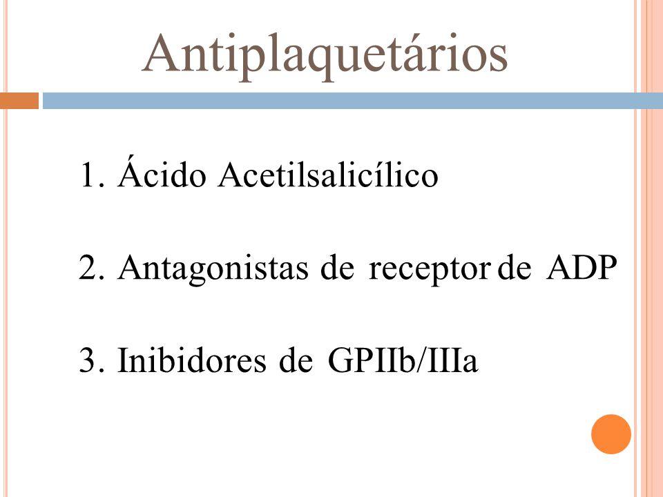 Antiplaquetários 1. Ácido Acetilsalicílico 2. Antagonistas de receptor