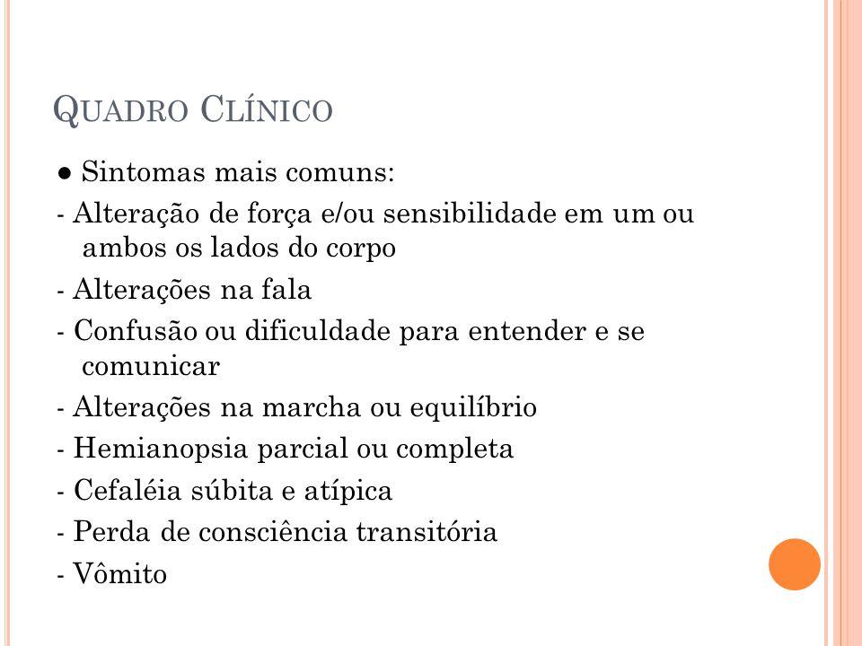 Quadro Clínico ● Sintomas mais comuns: