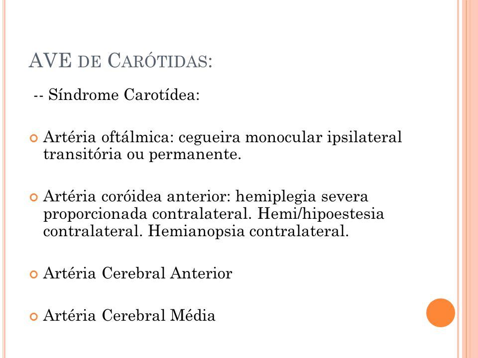AVE de Carótidas: -- Síndrome Carotídea: