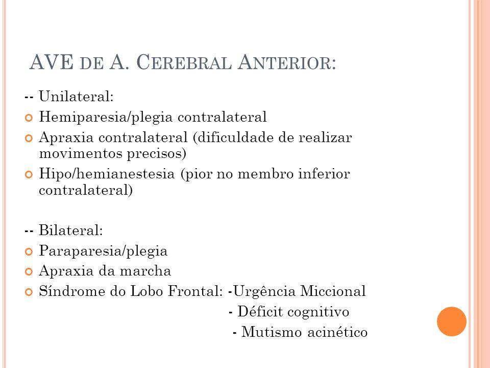 AVE de A. Cerebral Anterior: