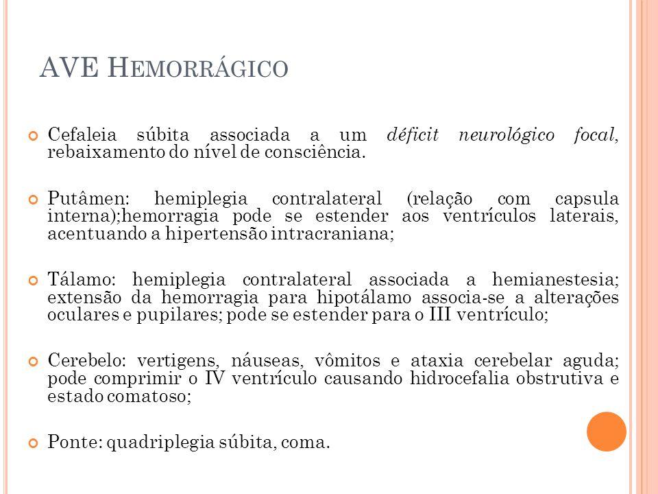 AVE Hemorrágico Cefaleia súbita associada a um déficit neurológico focal, rebaixamento do nível de consciência.