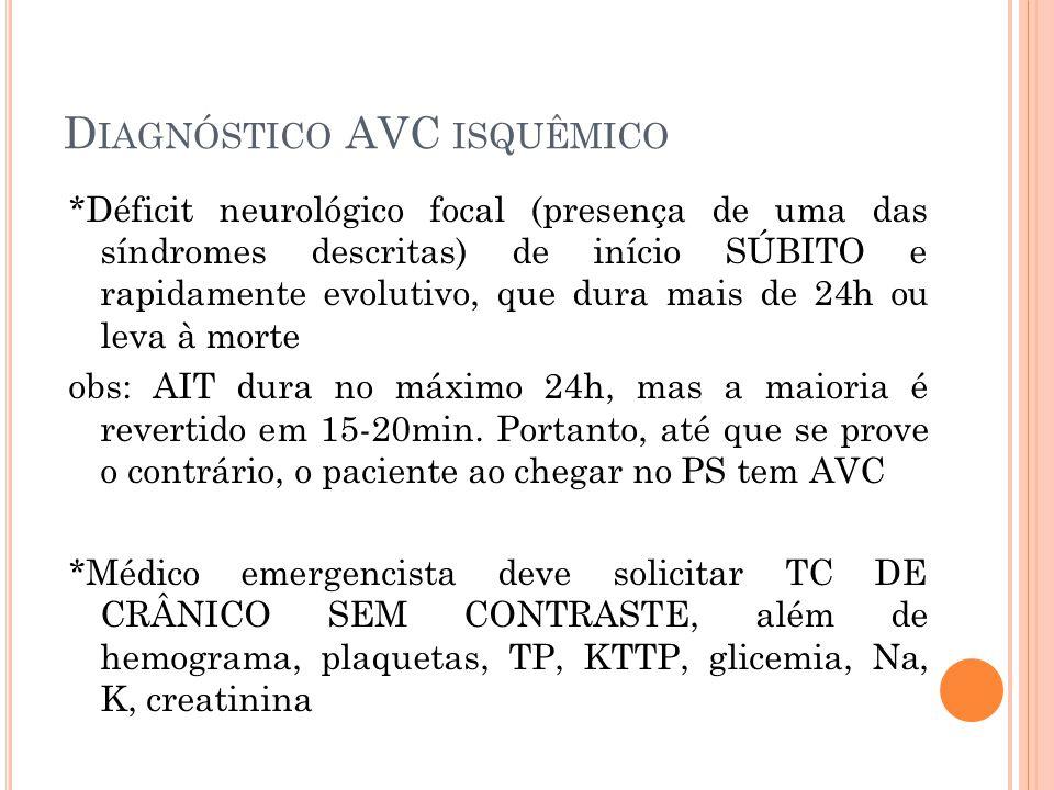 Diagnóstico AVC isquêmico