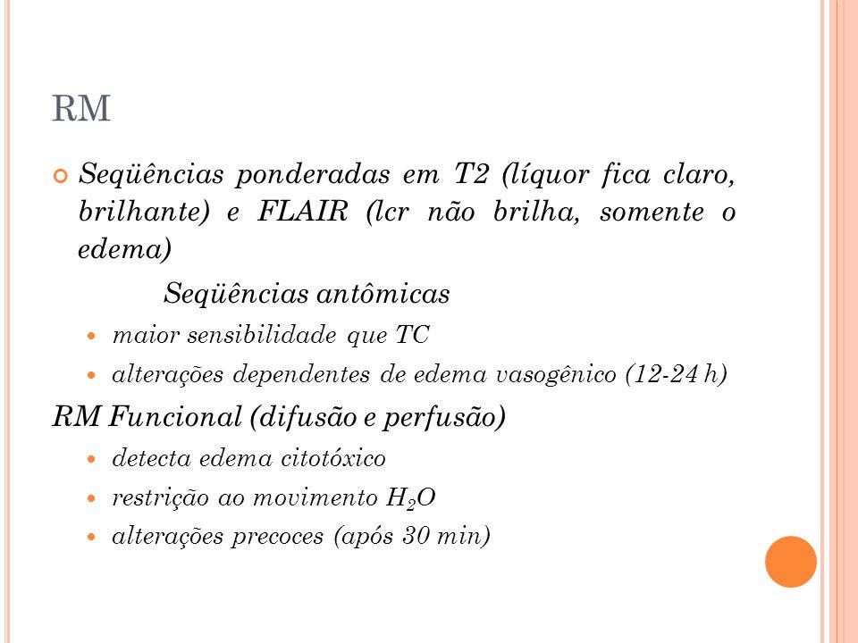 RM Seqüências ponderadas em T2 (líquor fica claro, brilhante) e FLAIR (lcr não brilha, somente o edema)