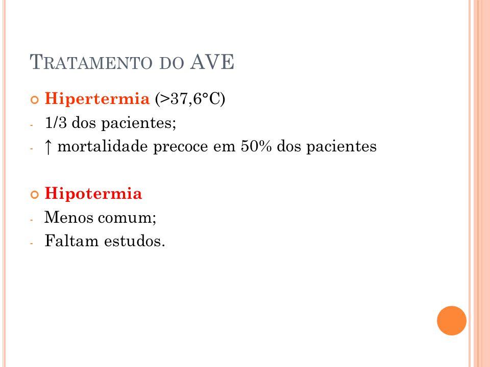Tratamento do AVE Hipertermia (>37,6°C) 1/3 dos pacientes;