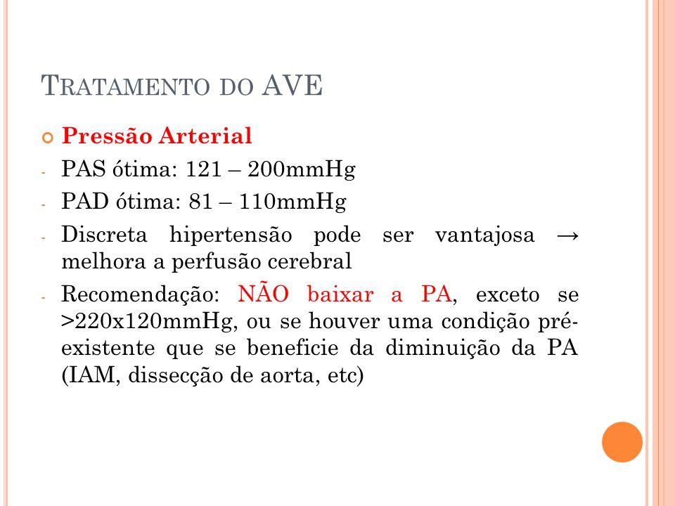 Tratamento do AVE Pressão Arterial PAS ótima: 121 – 200mmHg