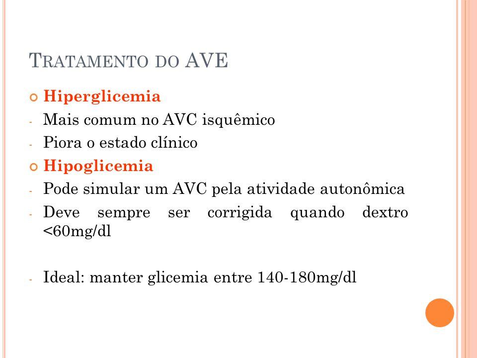 Tratamento do AVE Hiperglicemia Mais comum no AVC isquêmico