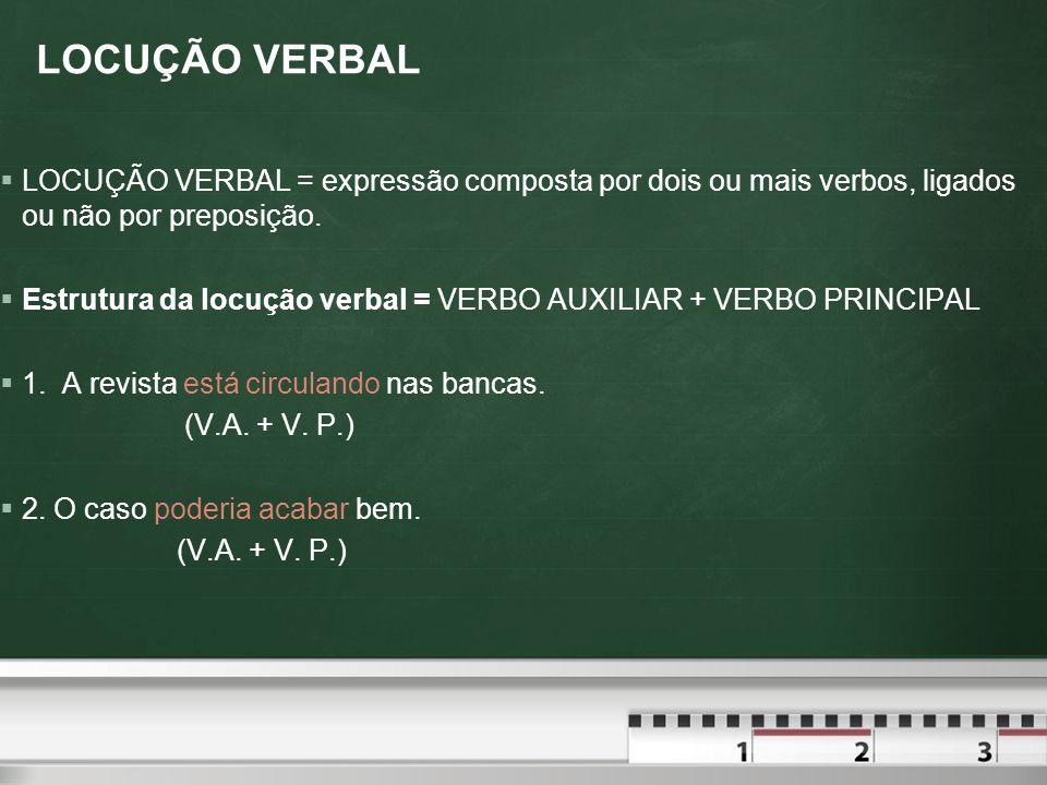 LOCUÇÃO VERBAL LOCUÇÃO VERBAL = expressão composta por dois ou mais verbos, ligados ou não por preposição.