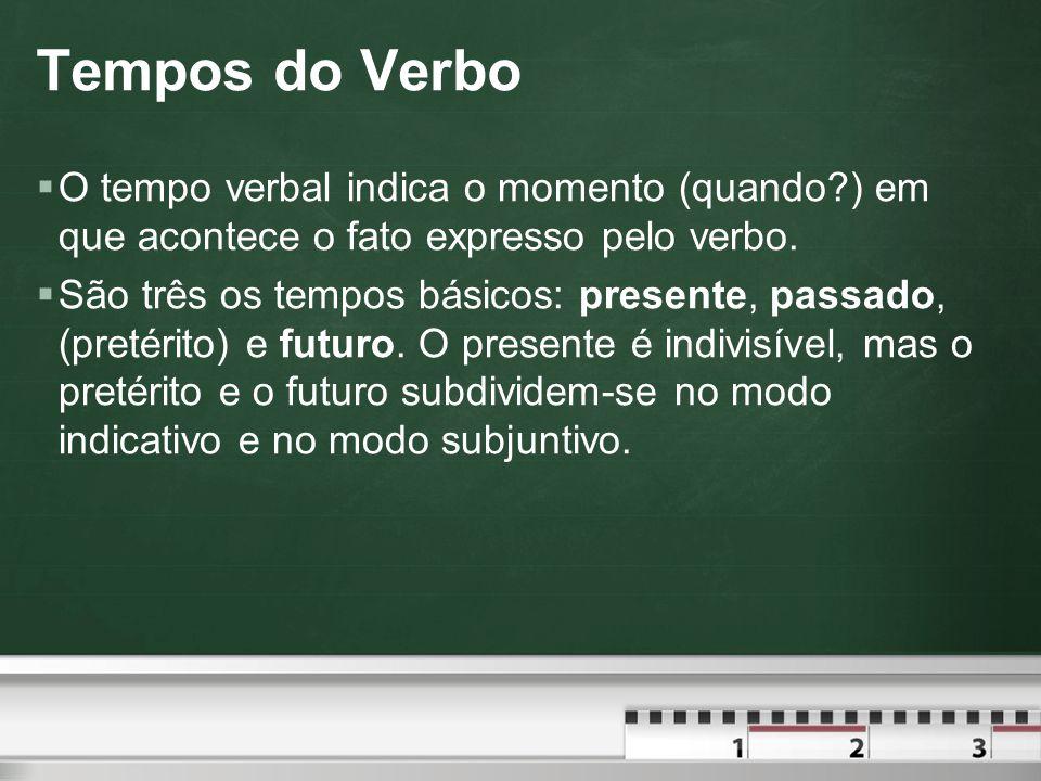 Tempos do Verbo O tempo verbal indica o momento (quando ) em que acontece o fato expresso pelo verbo.