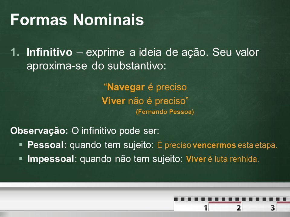 Formas Nominais Infinitivo – exprime a ideia de ação. Seu valor aproxima-se do substantivo: Navegar é preciso.