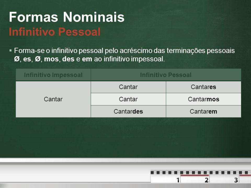 Formas Nominais Infinitivo Pessoal