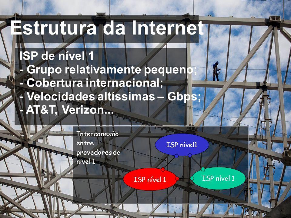 Estrutura da Internet ISP de nível 1 - Grupo relativamente pequeno;