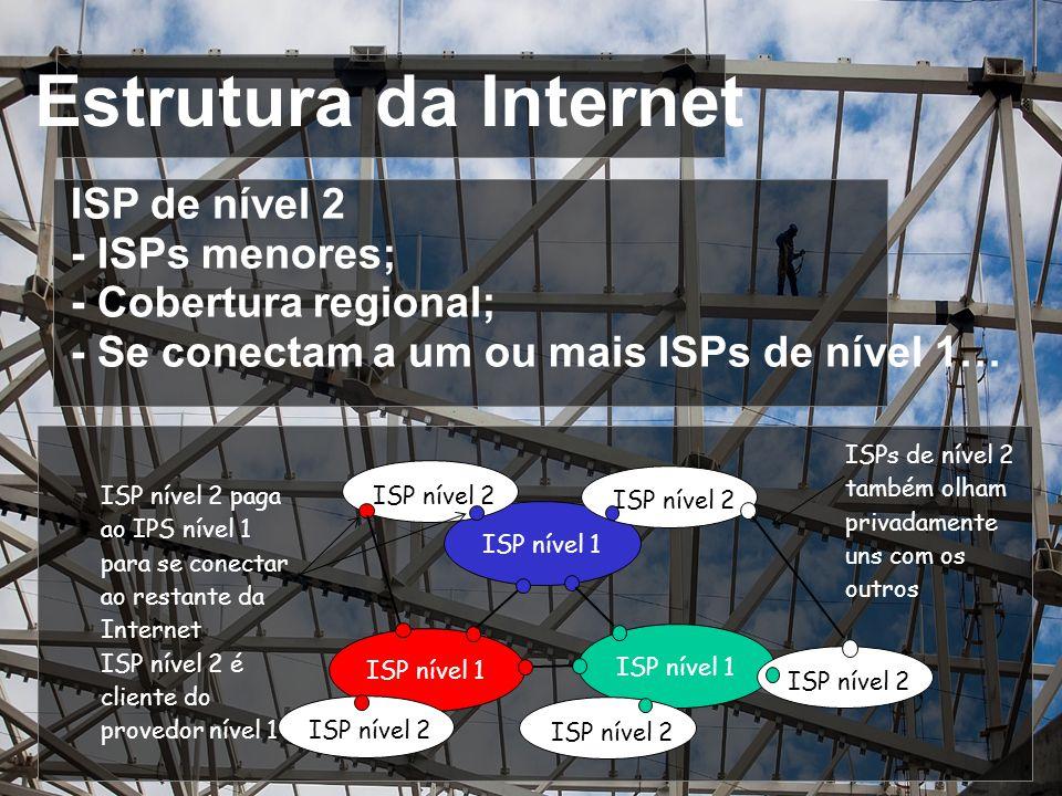Estrutura da Internet ISP de nível 2 - ISPs menores;